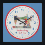 """Americana Patchwork Sewing Machine Wall Clock<br><div class=""""desc"""">This unique sewing themed wall clock is printed with a vintage sewing machine image pieced and stitched with red,  white and blue faux fabric scraps. Personalize the text in the easy Zazzle editor for your favorite sewing or quilting enthusiast. Great gift for personal or business space.</div>"""
