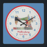 "Americana Patchwork Sewing Machine Wall Clock<br><div class=""desc"">This unique sewing themed wall clock is printed with a vintage sewing machine image pieced and stitched with red,  white and blue faux fabric scraps. Personalize the text in the easy Zazzle editor for your favorite sewing or quilting enthusiast. Great gift for personal or business space.</div>"