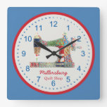 Americana Patchwork Sewing Machine Wall Clock