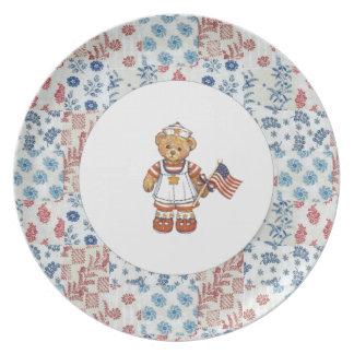 Americana Patriotic Bear Plate
