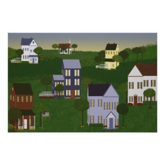 Americana Primitive Landscape Print