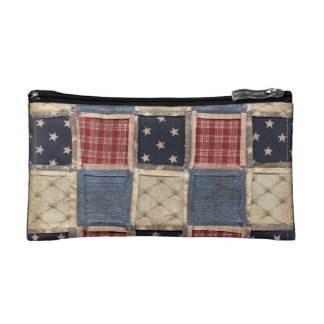 Americana quilted cosmetic bag