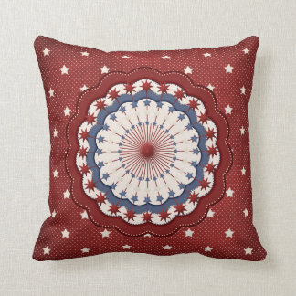 Americana Red White and Blue Patriotic Stars Throw Pillow