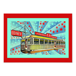 Americana Retro Diner Party Social Invitation Road