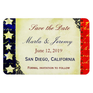 Americana save the date rectangular photo magnet