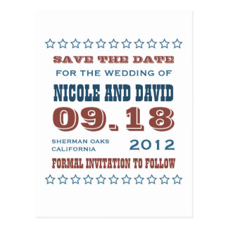Americana stars wedding announcement save the date postcard