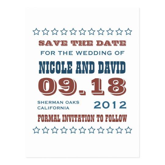 Americana stars wedding announcement save the date postcard