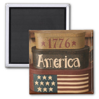 Americana Style Square Magnet 2x2