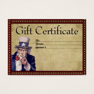Americana Uncle Sam- Prim Gift Certificate Cards