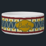 """Americana Vintage Drum Personalized Bowl<br><div class=""""desc"""">A fun drum pattern in muted vintage-inspired shades of red,  blue,  cream,  and golden yellow.  Personalize with your choice of name.</div>"""