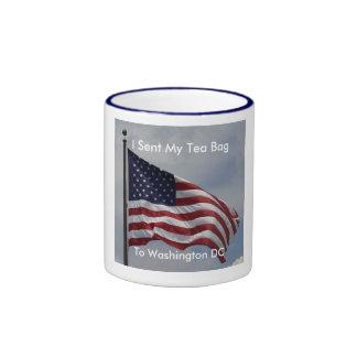 AmericanFlag, I Sent My Tea Bag, To Washington DC Ringer Coffee Mug
