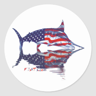 AmericanFlag Marlin by FishTs.com Round Stickers
