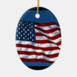 americanflag Double-Sided oval ceramic christmas ornament
