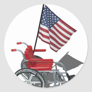 AmericanFlagWheelchair090912.png Classic Round Sticker