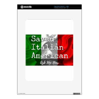 Americano ahorrado, italiano en negro y blanco iPad calcomanías