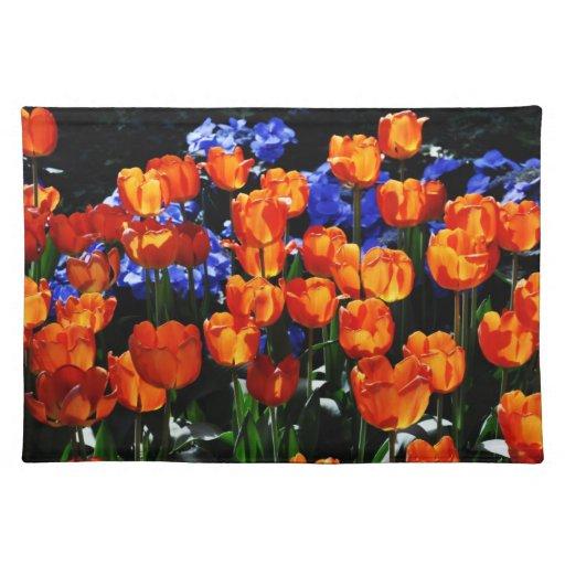 Americano anaranjado MoJo Placemat de los tulipane Manteles