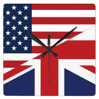 Americano - bandera combinada Británicos Reloj Cuadrado