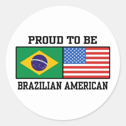 Americano brasileño pegatina redonda