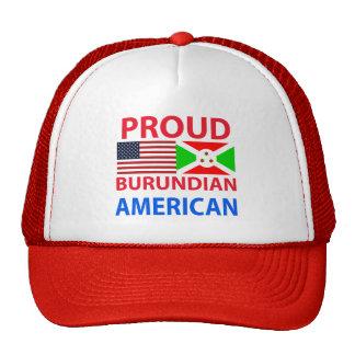 Americano burundés orgulloso gorros