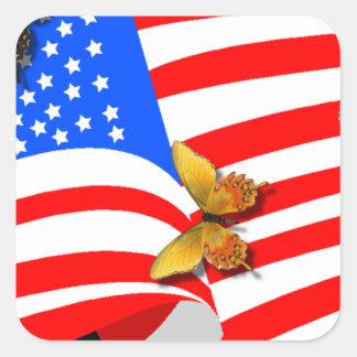 Americano Butterflys Pegatina Cuadrada