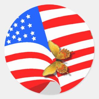 Americano Butterflys Pegatina Redonda