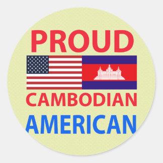 Americano camboyano orgulloso pegatina redonda