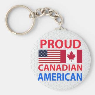 Americano canadiense orgulloso llavero redondo tipo pin