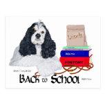 Americano cocker spaniel de nuevo a escuela tarjeta postal
