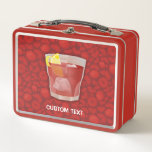 """Americano Cocktail Metal Lunch Box<br><div class=""""desc"""">A glass of Americano cocktail on dark red seamless background. Custom text.</div>"""