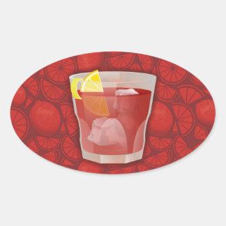 Americano cocktail oval sticker