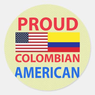 Americano colombiano orgulloso pegatina redonda