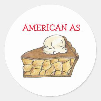 Americano como pegatinas de la empanada de Apple Pegatina Redonda