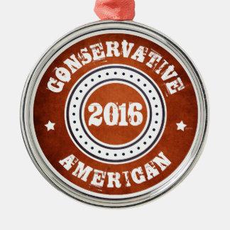 Americano conservador adorno navideño redondo de metal