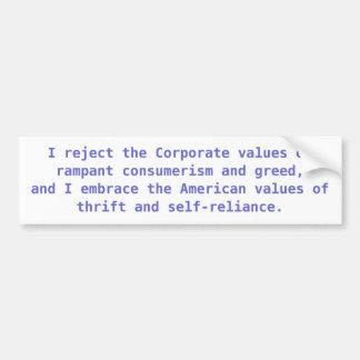 Americano contra valores corporativos pegatina de parachoque