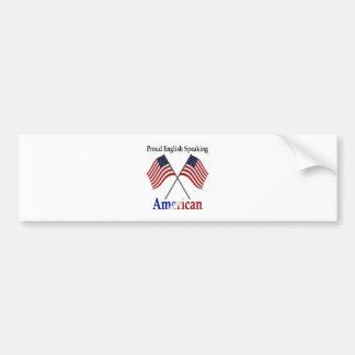 Americano de habla inglesa orgulloso pegatina de parachoque