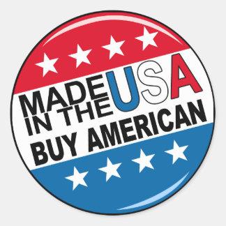 Americano de la compra - hecho en los E.E.U.U. Pegatina Redonda
