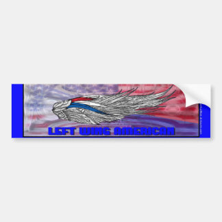 Americano de la izquierda etiqueta de parachoque