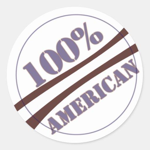 americano del 100 por ciento pegatinas redondas