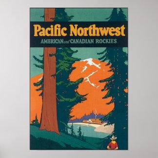 Americano del noroeste pacífico y canadiense Rocki Póster