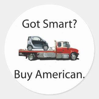 Americano elegante de la compra del coche pegatina redonda