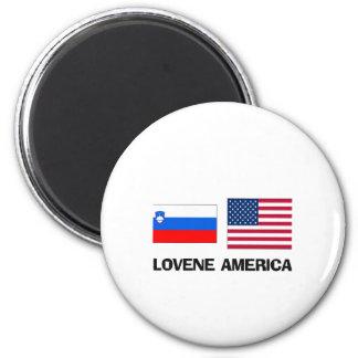 Americano esloveno imán redondo 5 cm