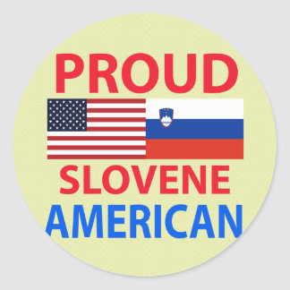 Americano esloveno orgulloso pegatina redonda