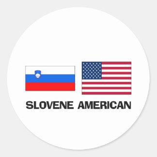 Americano esloveno pegatina redonda