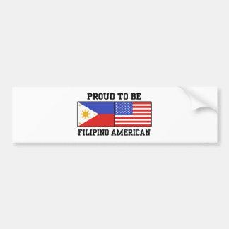 Americano filipino orgulloso pegatina para auto