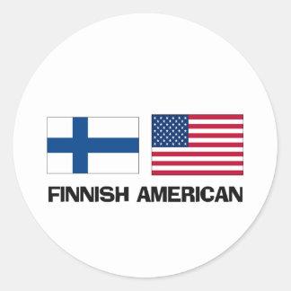 Americano finlandés etiquetas redondas