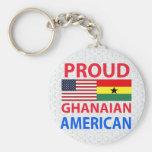 Americano ghanés orgulloso llavero redondo tipo pin