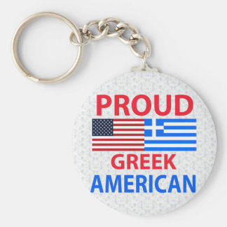 Americano griego orgulloso llavero redondo tipo pin