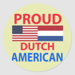Americano holandés orgulloso pegatina redonda