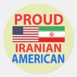 Americano iraní orgulloso pegatina redonda