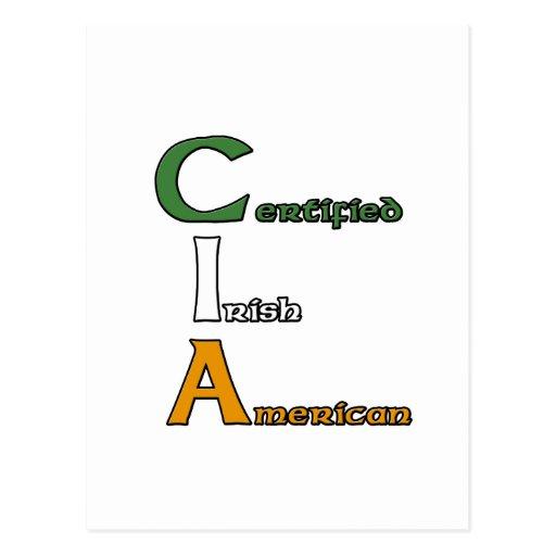 Americano irlandés certificado Cia Postales